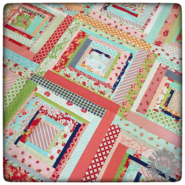 Blocks for the Bonnie and Camille Log Cabin Swap on Instagram by Thistle Thicket Studio. Before the cut.