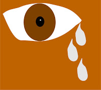 a graphic by Erika Grey of a large eye with tears streaming from the eye symbolizing pain and suffering