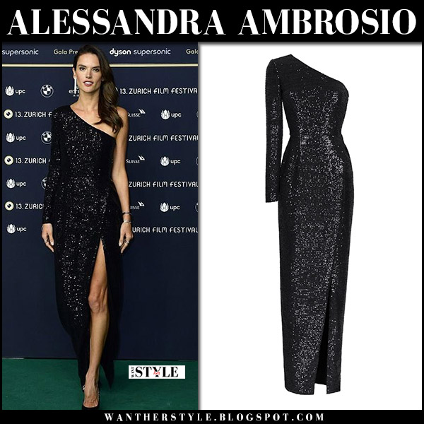 Alessandra Ambrosio in black sequin one shoulder dress at Zurich Film Festival red carpet style