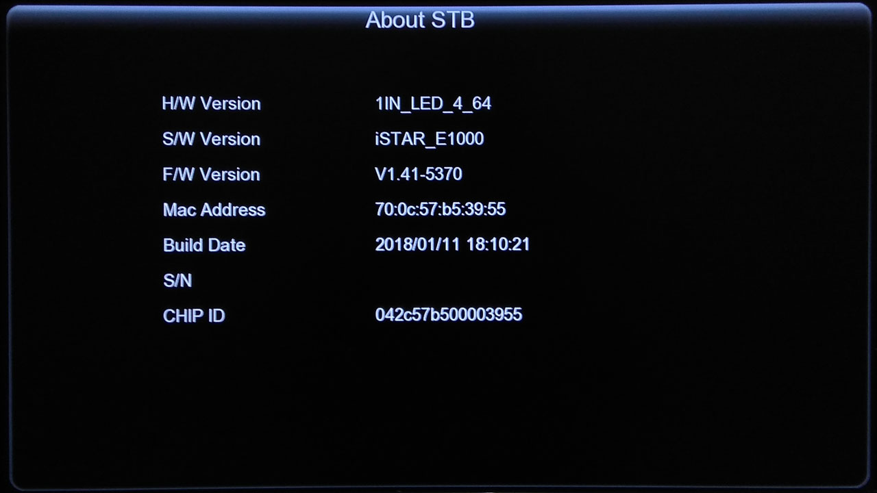 Software iStar E1000 HD New Update Firmware Receiver