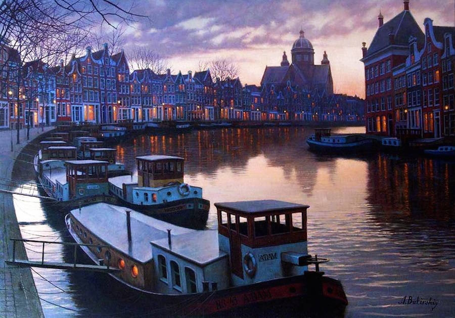 13-Alexey-Butyrsky-Architecture-in-Paintings-of-Cityscapes-at-Night-www-designstack-co