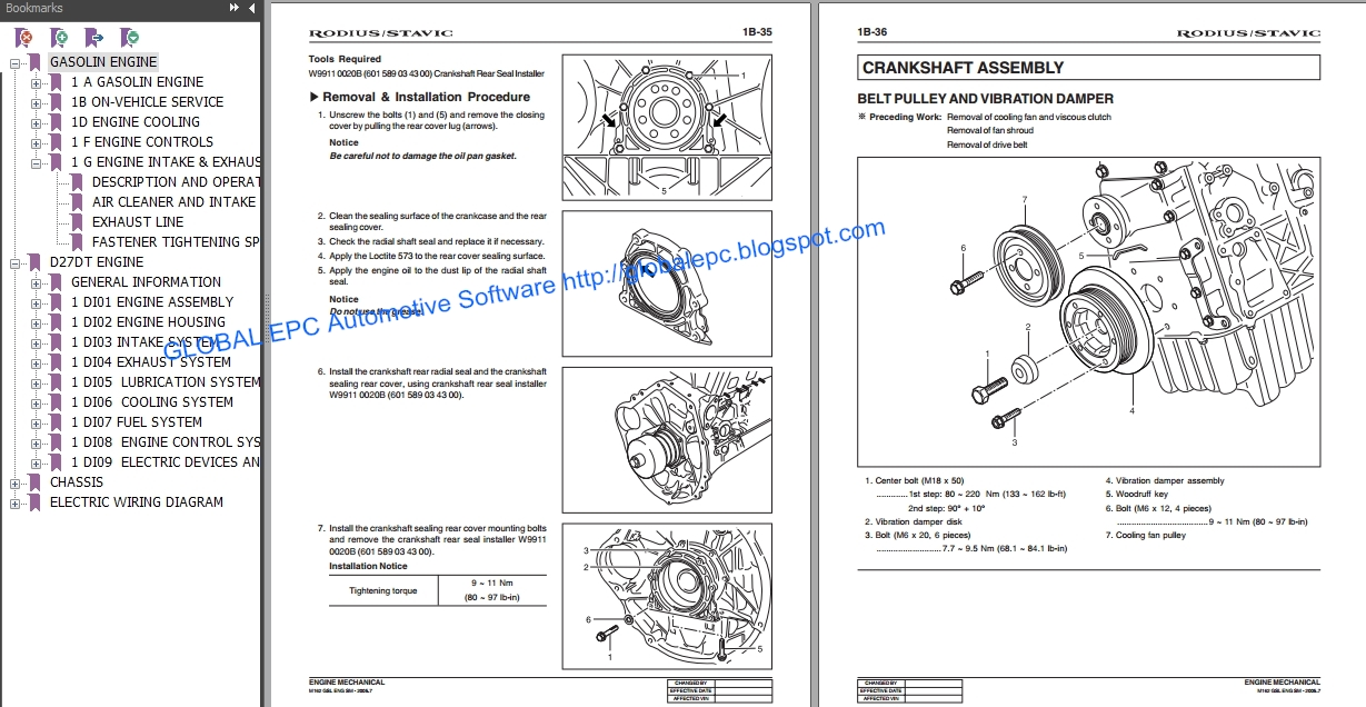 AUTOMOTIVE REPAIR MANUALS: SSANGYONG RODIUS STAVIC 2004