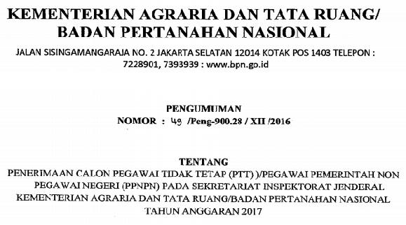 Lowongan Kerja Non PNS, Lowongan kerja Kementerian Agraria dan Tata Ruang