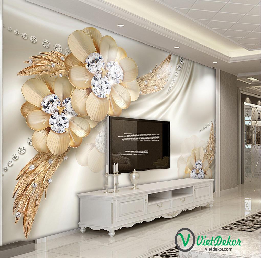 Tranh dán tường 3d hoa ngọc tai phòng ngủ