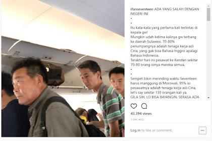 Video Vokalis Band Seventeen Tercengang Saksikan Banyaknya TKA Cina di Pesawat : Ada yang Salah...