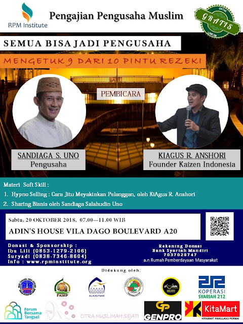 Bang Sandi Kupas Tuntas Dalam Acara Pengajian Pengusaha Muslim 20 Oktober 2018, Yuuk Gabung!