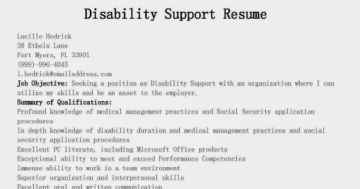 Resume Samples Disability Support Resume Sample