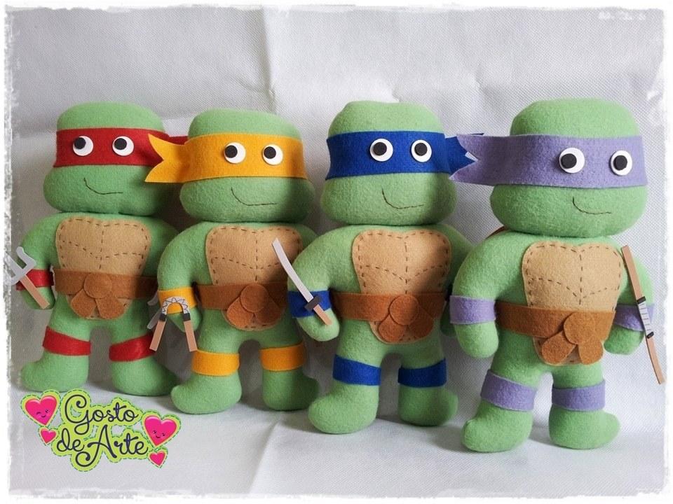 Tartarugas Ninja Em Feltro Com Moldes Como Fazer