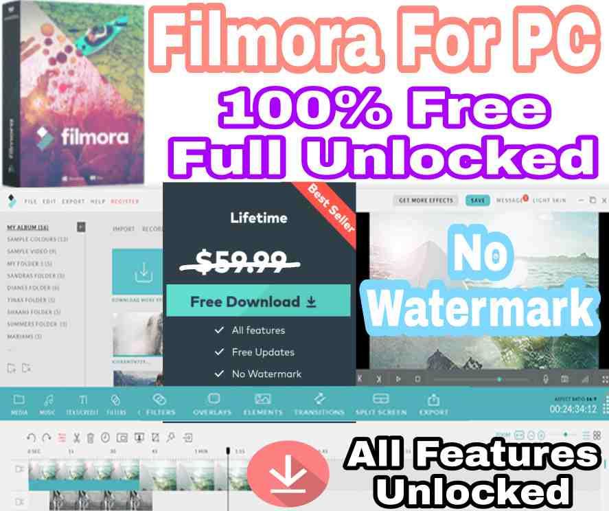 WonderShare Filmora Full Unlocked Software Free Download | Cracked | Full Version | Video Editor