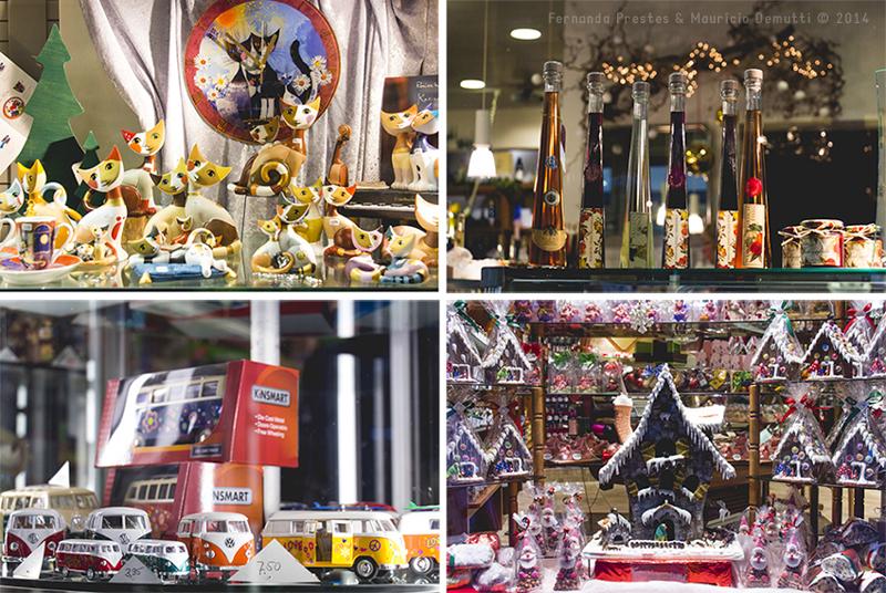 vitrine com artigos natalinos