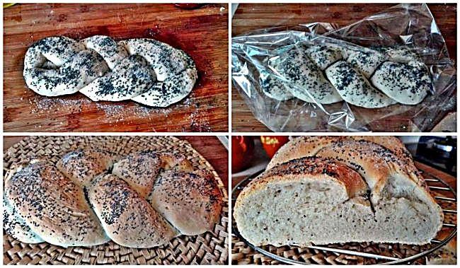 Preparación del pan trenzado con semillas de amapola
