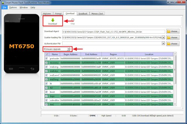 Pilih Firmware upgrade kemudian klik Download untuk memulai Flash Genpro Z2 S57