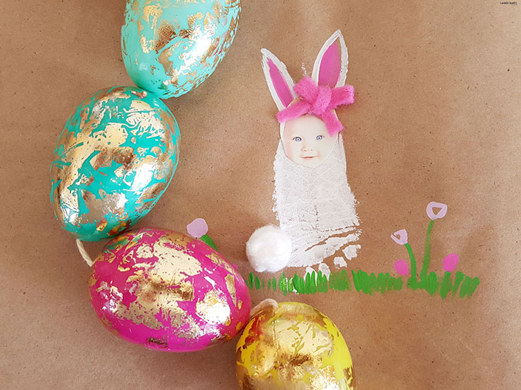 You don't have to be Martha Stewart to do this craft. It's easy to make a super adorable little bunny photo keepsake with your baby's foot and you likely already have everything you'll need around your house. So grab a chocolate bunny and some jelly beans... and of course, your kiddo, and let's start crafting and making memories!