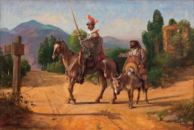 Ο Δόν Κιχώτης και ο Σάντσο Πάντσα καβάλα σε άλογο και γαϊδούρι αντίστοιχα, μπροστά σε σταυροδρόμι.