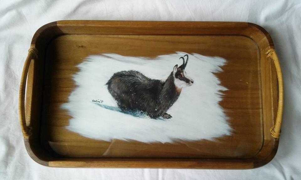 Vassoi In Legno Con Vetro : Decorarte vassoio in legno con camoscio