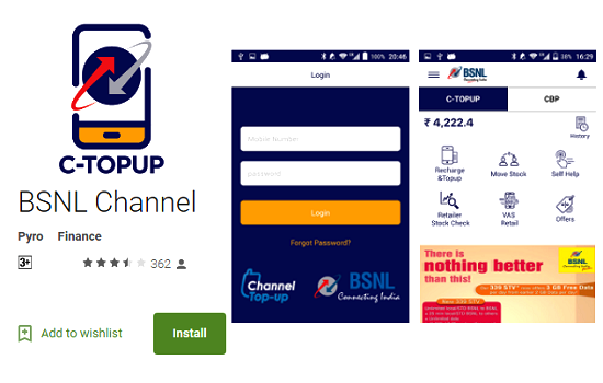 BSNL launched 'BSNL Channel' Android App (C-Top Up App) for BSNL retailers, sub-franchisees and franchisees