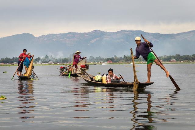 Pescadores reales del lago Inle, Myanmar