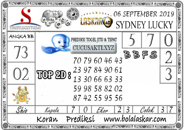 Prediksi Sydney Lucky Today LASKAR4D 06 SEPTEMBER 2019