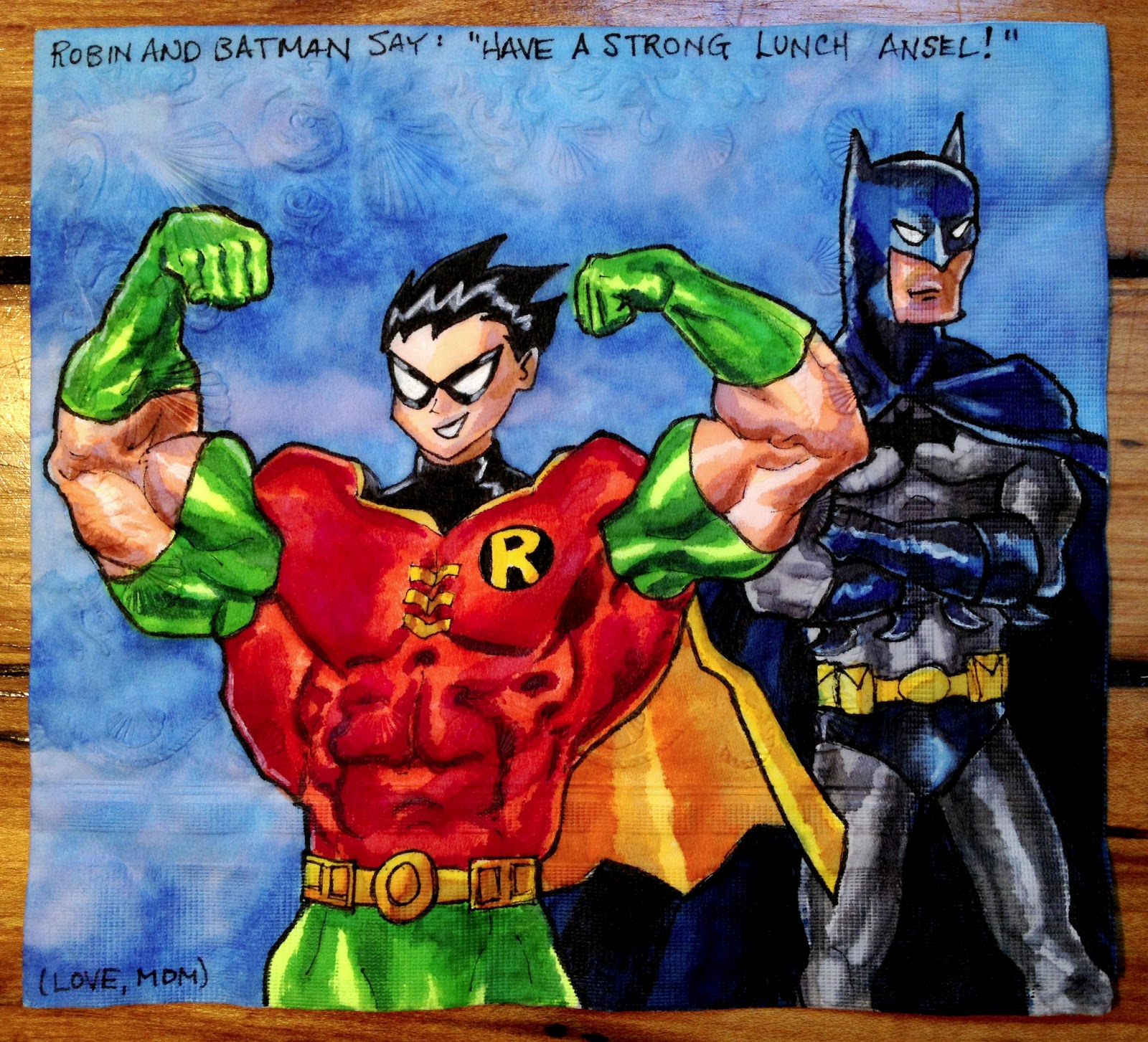 Daily Napkins Muscular Teen Titans Robin Poses With -4488
