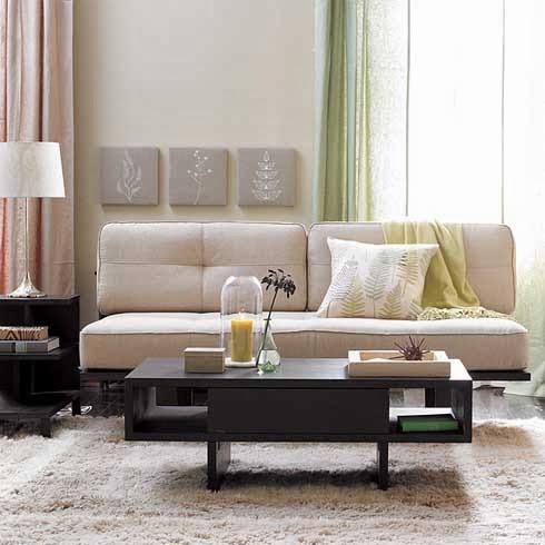 salón beige y marrón