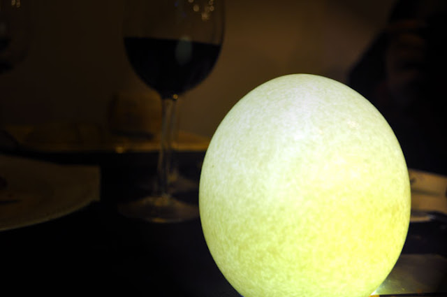 Huevo de avestruz transformado en lampara