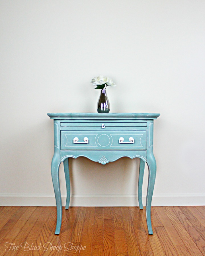 Queen Anne style side table painted in Provence blue.