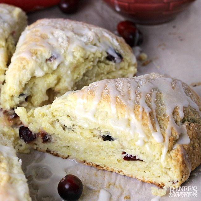 Glazed and ready to eat Easy Orange Cranberry Scones by Renee's Kitchen Adventures