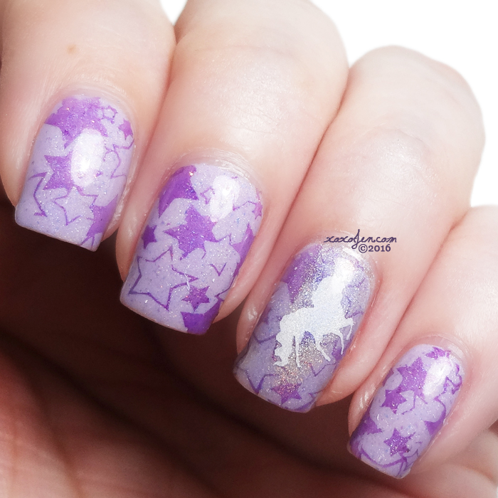 xoxoJen's swatch of Unicorn and Star Nail Art