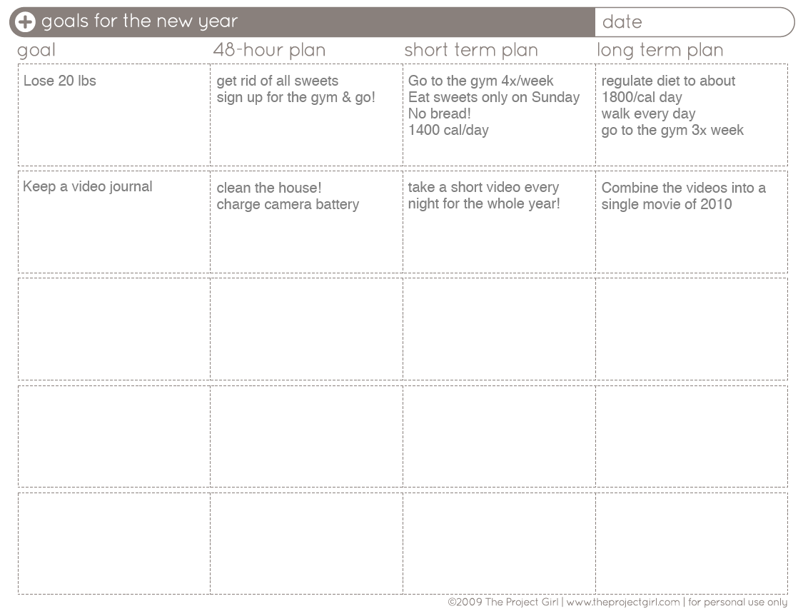 Life Goals Template. health and fitness for setting. goal chart ...