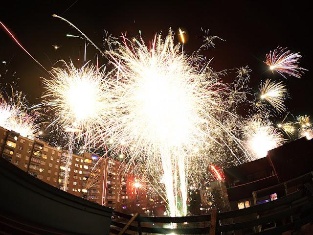 Fireworks on silvester 2016 Fužine Ljubljana skupna