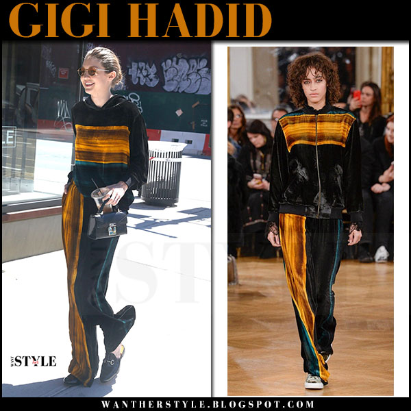 Gigi Hadid in green velour orange stripes tracksuit paul and joe what she wore june 20 2017