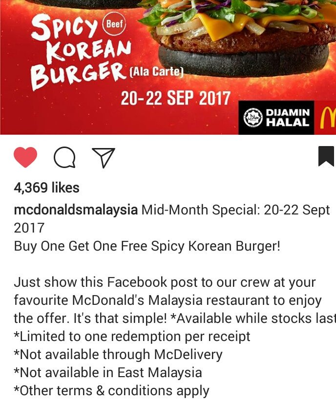 McD: Buy 1 Free 1 Spicy Korean Burger (20-22 September 2017)