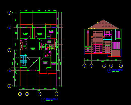 Gambar Kerja Desain Rumah Tinggal 13x14 m Dwg Gratis