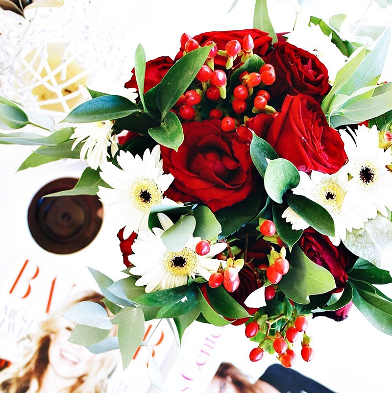 pretty flower bouquets with red roses, chic lifestyle flatlays