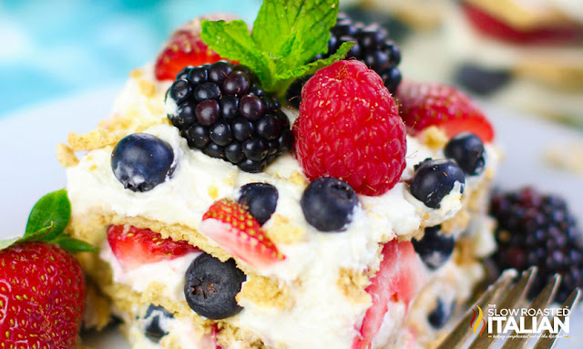Summer Berry Icebox Cake close up