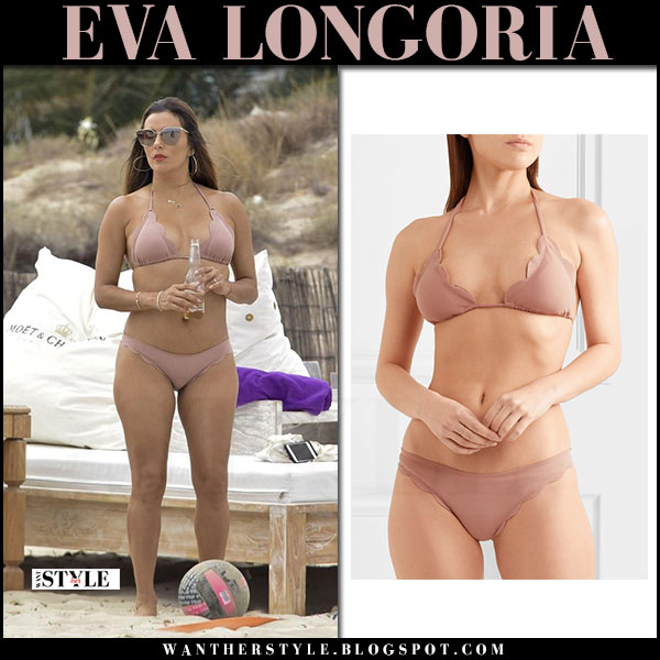 Eva Longoria in dusty pink bikini marysia broadway july 20 2017 celebrity beach style