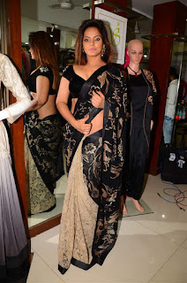 Neetu Chandra in Black Saree at Designer Sandhya Singh Store Launch Mumbai (33).jpg