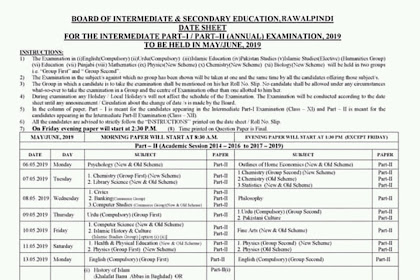 1st year date sheet 2019 Rawalpindi Board