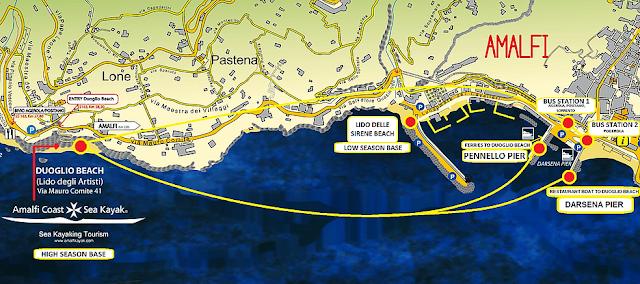 Mapa de Amalfi e das praias de Amalfi