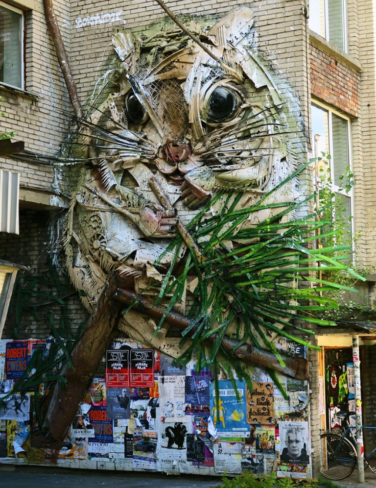 Street Artist Transforms Ordinary Junk Into Animals To Remind About Pollution - Flying Squirrel Close Up
