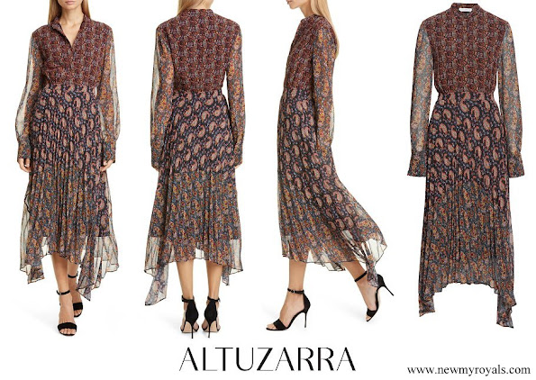 Queen Maxima wore Altuzarra Asymmetrical Paisley Print Long Sleeve Midi Dress