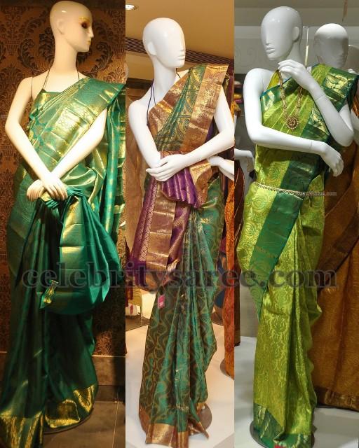 f9a8aa09f04306 Green Bridal Sarees in Kanchi Silk - Saree Blouse Patterns