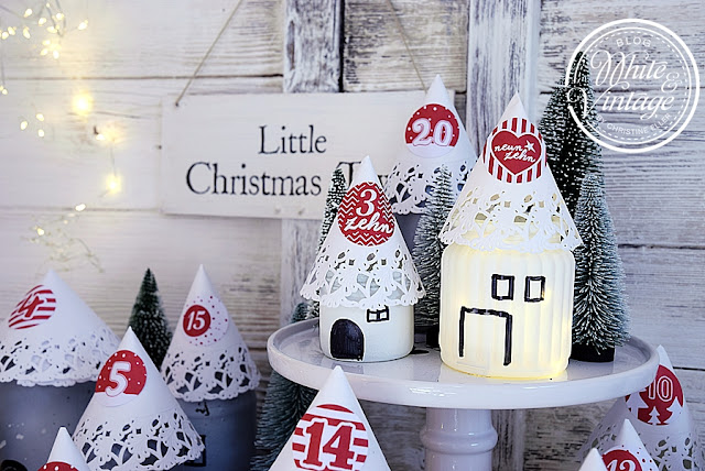 diy adventskalender little christmas town white and vintage. Black Bedroom Furniture Sets. Home Design Ideas