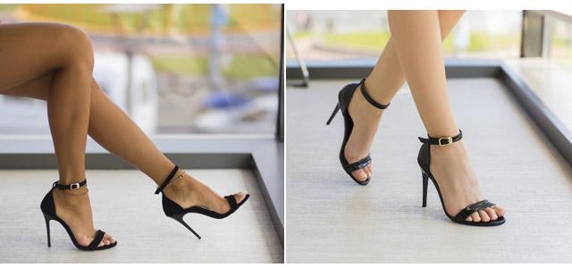 Sandale simple elegante negre de ocazii piele intoarsa si lacuita
