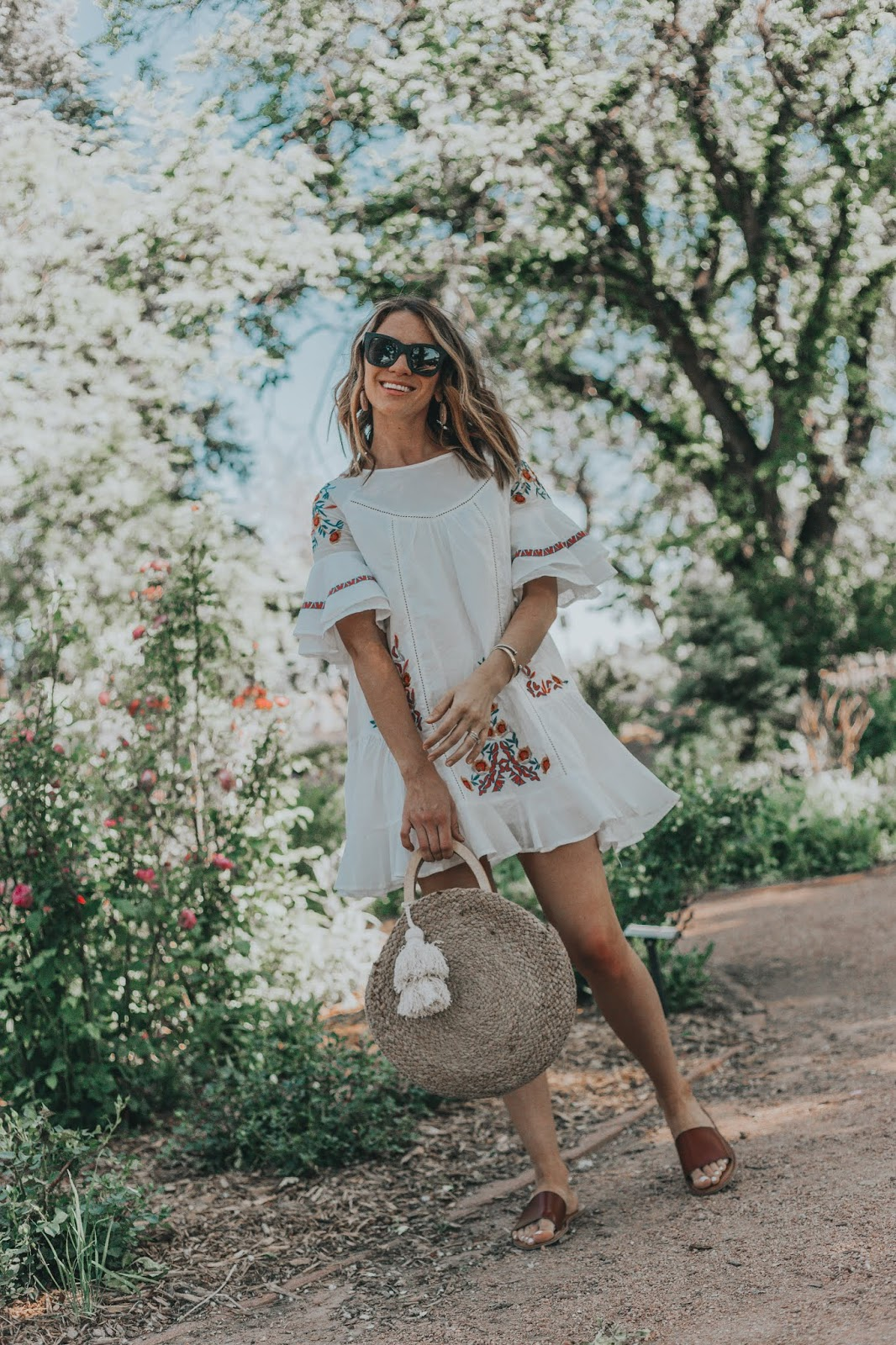 Chicwish Boho Floral Embroidered Dress styled by popular Colorado fashion blogger, Leah Behr