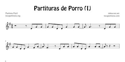 4 Partituras de Porro (1) El Aguacero, El Año Viejo, El Mecánico y Fiesta de Negritos