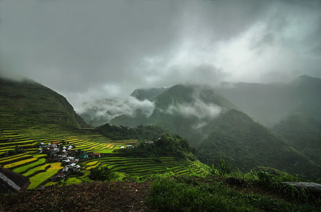 Beautiful Batad Rice Terraces during afternoon rain and fog