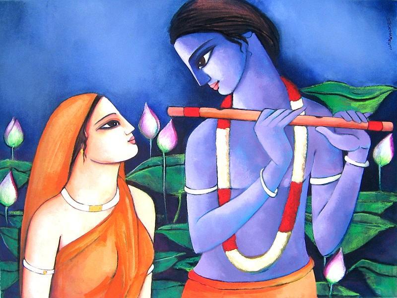 krishna radha oil painting picture
