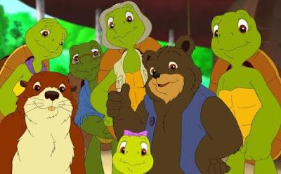 Dibujo de Franklin feliz con sus seres queridos