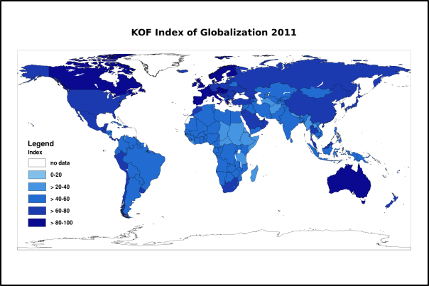 KOF index of globalization 2011